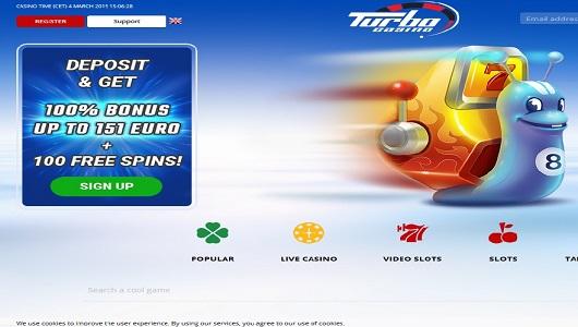 turbo casino home pagina screenshot