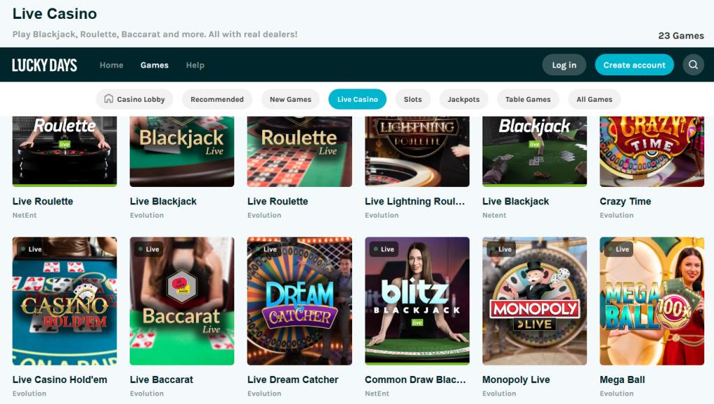screenshot lucky days live casino lobby