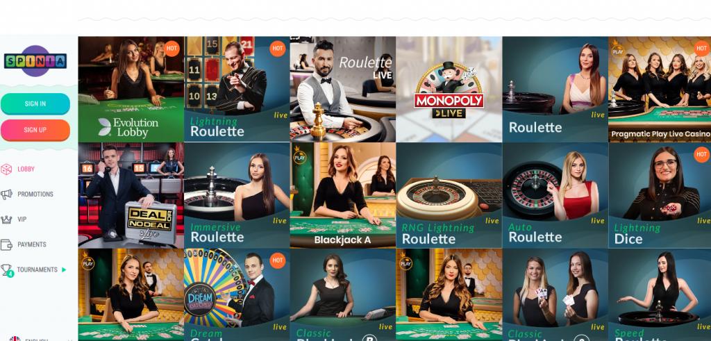 screenshot spinia live casino lobby